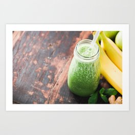Close-up of green fresh smoothie with fruits, berries, oats and seeds, selective focus. Art Print