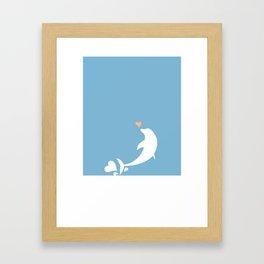 Ocean Dolphin Blue Heart Love Framed Art Print