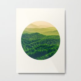 Mid Century Modern Round Circle Photo Graphic Design Lush Green Gradient Rolling Hills Metal Print