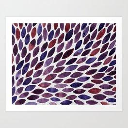 Watercolor brush strokes burst - purple autumn palette Art Print