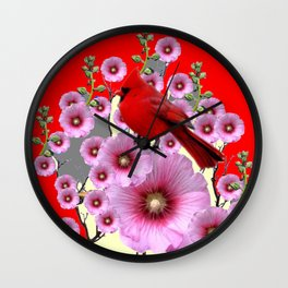 MODERN  RED ART PINK HOLLYHOCKS & RED CARDINAL BIRD Wall Clock