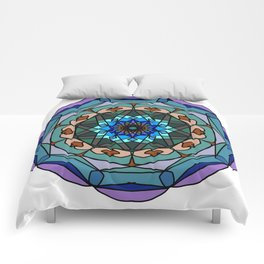 Mandala in vivid colors for energy obtaining Comforters