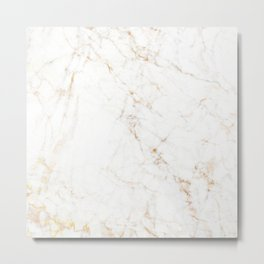 White Marble with Delicate Gold Veins Metal Print
