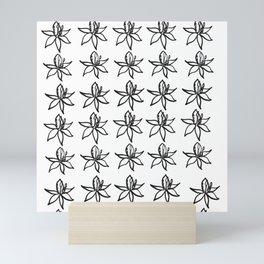 Black and white flowers Mini Art Print