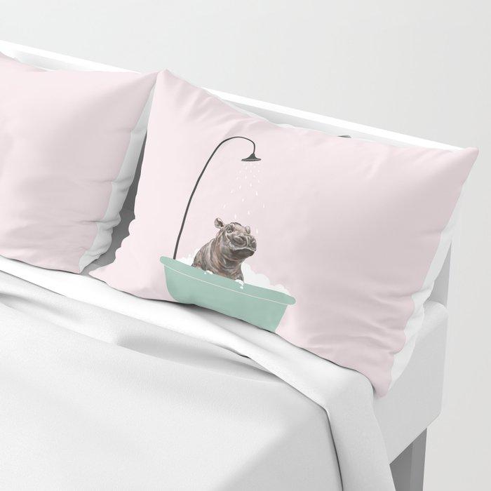 Hippo Enjoying Bubble Bath Pillow Sham By Bignosework