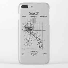 Industrial wrench patent Clear iPhone Case