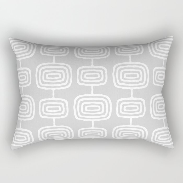 Mid Century Modern Atomic Rings Pattern 731 Gray Rectangular Pillow