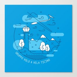 GVVT - Line art blue version Gruppo Volo a Vela Ticino Canvas Print