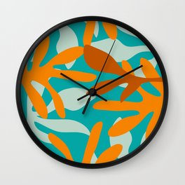 Seychelles Garden Botanical Abstract in Rust, Orange, Aqua, and Turquoise Wall Clock