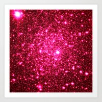 glitter Art Prints featuring Hot Pink Glitter Stars by 2sweet4words Designs