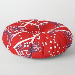 Tile #6 White-Blue Line Art on Red Floor Pillow