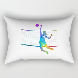Woman volleyball player in watercolor Rectangular Pillow