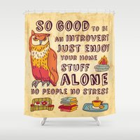 introvert Shower Curtains featuring Happy introvert by Crowhouse