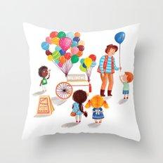 Balloon Stand Throw Pillow