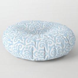 Floral Scallop Pattern Pale Blue Floor Pillow