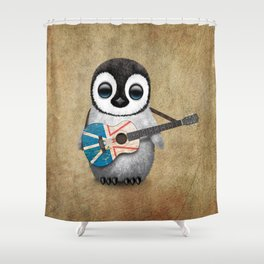 Baby Penguin Playing Newfoundland Flag Acoustic Guitar Shower Curtain