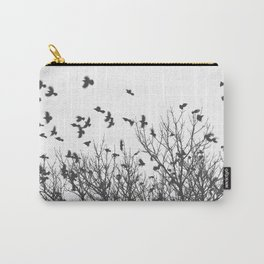 Crows in Flight on Snowy Morning Black and White Photography Carry-All Pouch