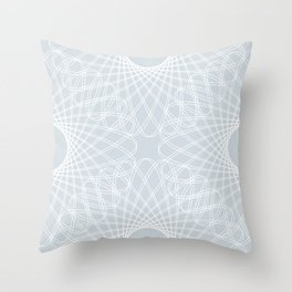 spirograph inspired pattern in white and a pale icy gray Throw Pillow