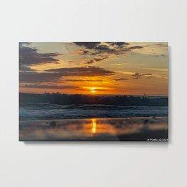 Sunset North Sea Waves Reflections Denmark Bjerregard Beach 7 Metal Print