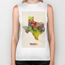 Texas Watercolor Map Biker Tank