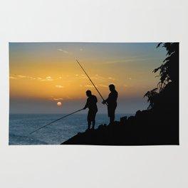 Two Men Fishing at Shore Rug