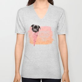 Watercolor Dog Cream Cone Introverted But Willing to Discuss Pugs Unisex V-Neck