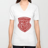maori V-neck T-shirts featuring Maori Mask Etching by patrimonio