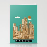 minneapolis Stationery Cards featuring Minneapolis skyline by bri.buckley