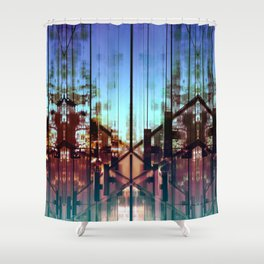 Flipped On - Abstract Geometry Photo Shower Curtain