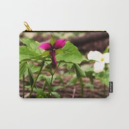 Understory Ephemerals - Red Trillium and White Trillium Carry-All Pouch