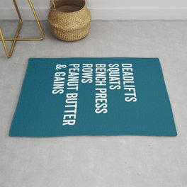 Peanut Butter & Gains Gym Quote Rug