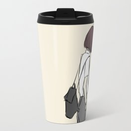 Girl standing while wearing a backpack and looking so cool Travel Mug