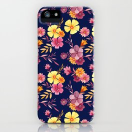 Midnight // Pink and Yellow Floral Pattern iPhone Case