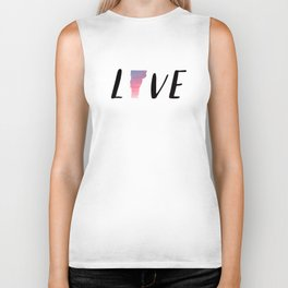 Love Vermont - Sunset Watercolor State Biker Tank