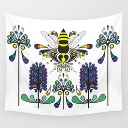 Pollinator Paisley Bee Pattern with Retro Flowers Wall Tapestry