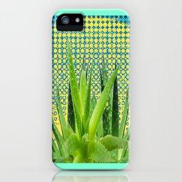 MODERN ALOE VERA SUCCULENT OPTICAL ART iPhone Case