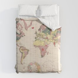 Vintage Geological Map of The World (1856) Comforters