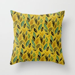 Celadon Leaves Throw Pillow