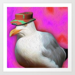 Seagull with Summer Hat Art Print