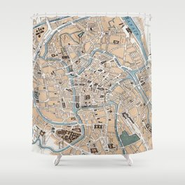 Vintage Map of Ghent Belgium (1905) Shower Curtain