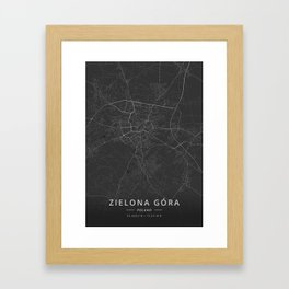 Zielona Gora, Poland - Dark Map Framed Art Print