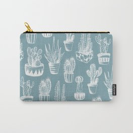 Cactus Pattern Teal Carry-All Pouch