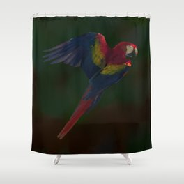 Light and Shadow Scarlet Macaw Shower Curtain