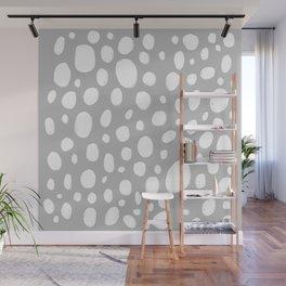 Dots grey illustrated pattern Wall Mural