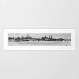 Elbufer in Dresden Art Print