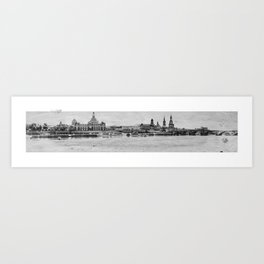 Elbufer in Dresden Art Print