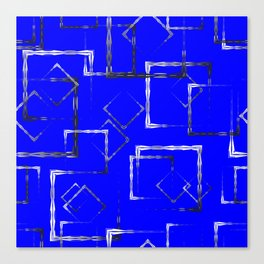 Dark carved squares and gray rhombuses on a blue background. Canvas Print