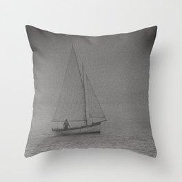 Foggy Sail North Berick Sea, Scotland Throw Pillow