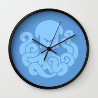 bioshock infinite Wall Clocks featuring Bioshock Infinite Vigors - Undertow by GunnerGrump