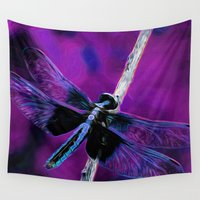 dragonfly Wall Tapestries featuring Dragonfly by Kunteku